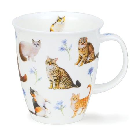 Dunoon Fine Bone China Mug Flowers Cats Blue
