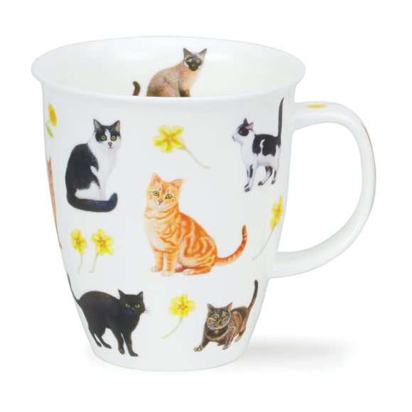 Dunoon Fine Bone China Mug Flowers Cats Yellow
