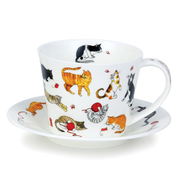 Dunoon Fine Bone China Cute Cats Cup and Saucer Set