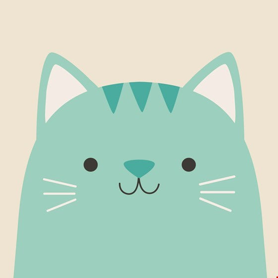 Cookie the Cat Blank Greetings Card (Aqua)