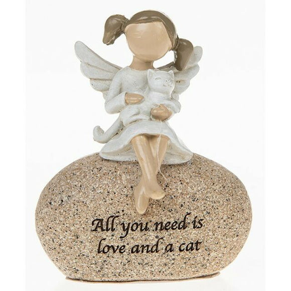 Sentiment Angel Ornament All You Need is Love and a Cat