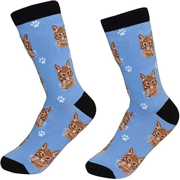 Sock Daddy Premium Cotton Cat Socks - Ginger Tabby Cat