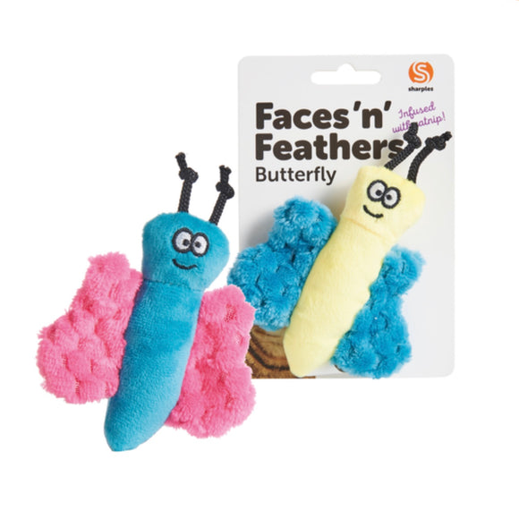 Faces 'n' Feathers Catnip Cat Toy - Butterfly