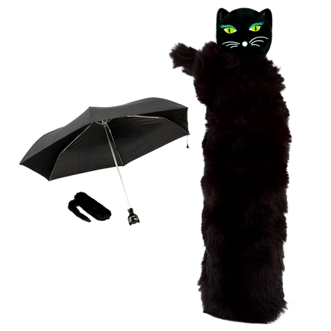Telescopic Kitty Umbrella with Furry Case - Black