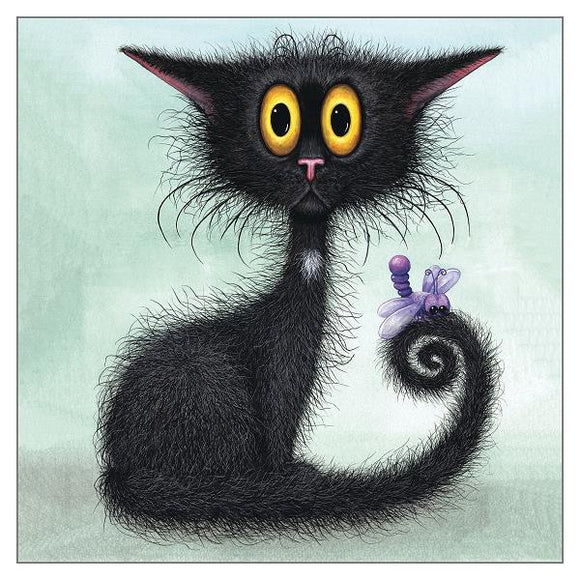 Tamsin Lord Cat Greetings Card - Unexpected Visitor