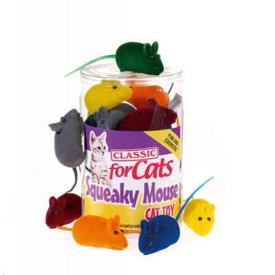 Classic Squeaky Mouse Cat Toy - 6 Colour Options