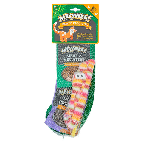 Cat Christmas Stocking: Meaty Treats & Teaser Toy