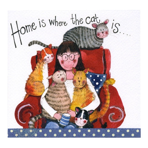 Alex Clark Large Sparkle Card - Home is where the cat is