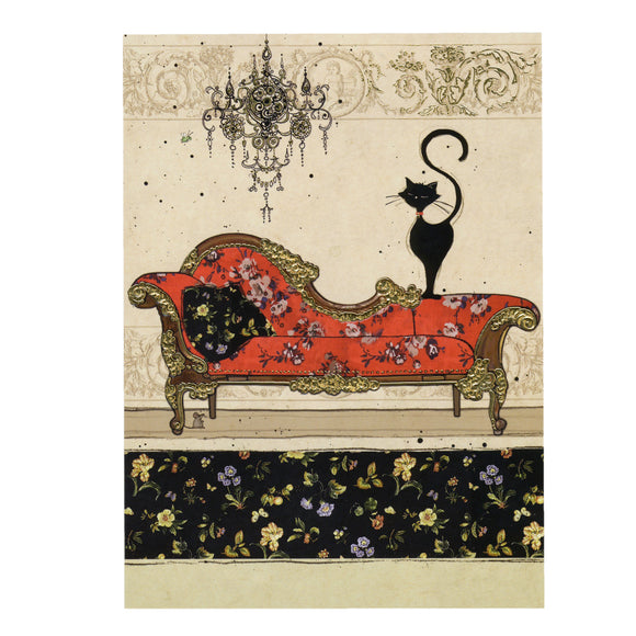 Bug Art Luxury Greetings Card - Red Chaise Cat