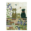 Bug Art Luxury Greetings Card - Cats on a Wall