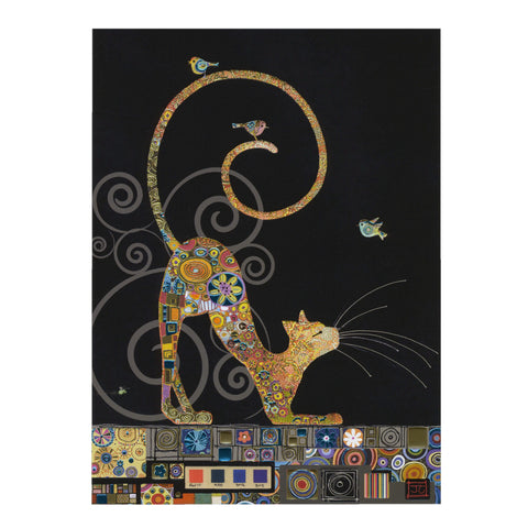 Bug Art Luxury Greetings Card - Cat with Birds