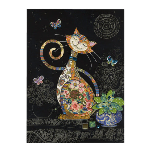 Bug Art Luxury Greetings Card - Happy Cat