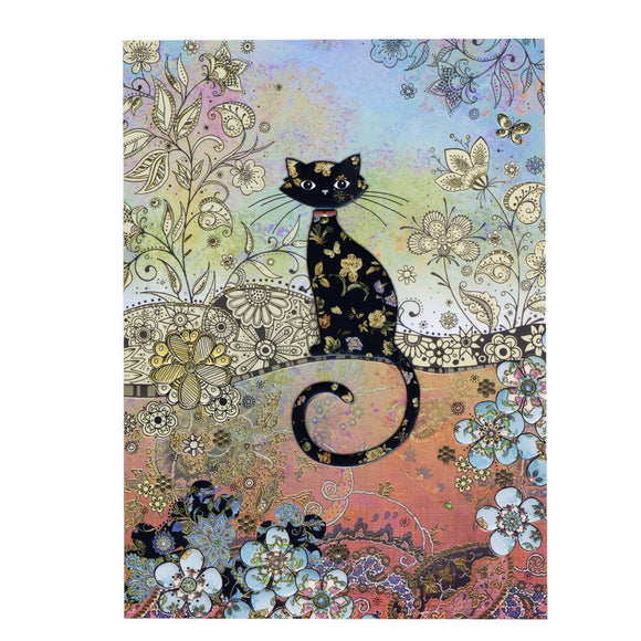 Bug Art Luxury Greetings Card - Patterned Cat