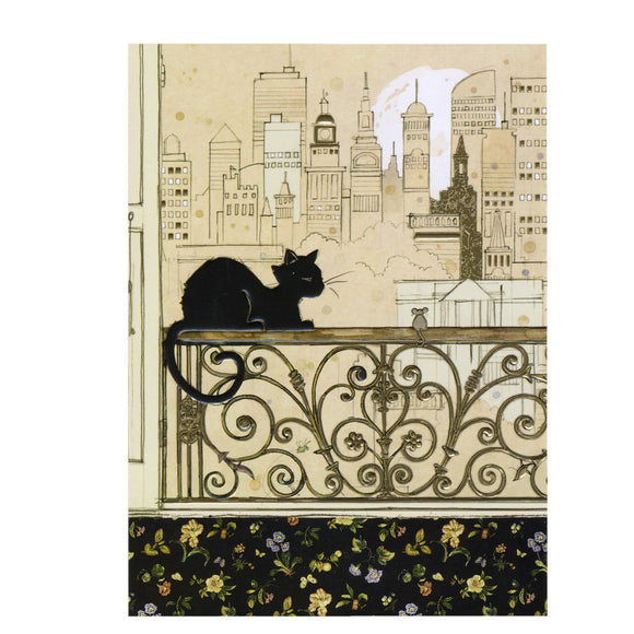 Bug Art Luxury Greetings Card - City Cat