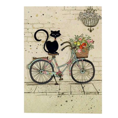 Bug Art Luxury Greetings Card - Bike Cat