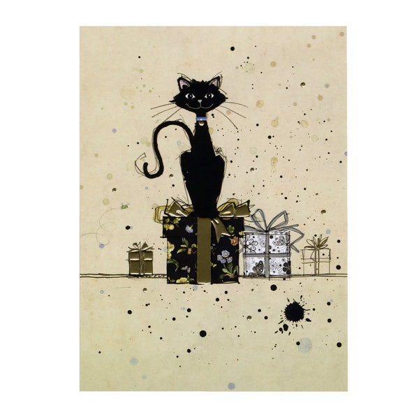Bug Art Luxury Greetings Card - Cat on Gifts