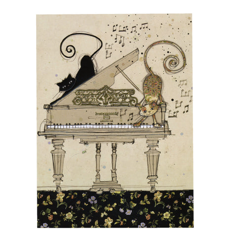 Bug Art Luxury Greetings Card - Piano Cats