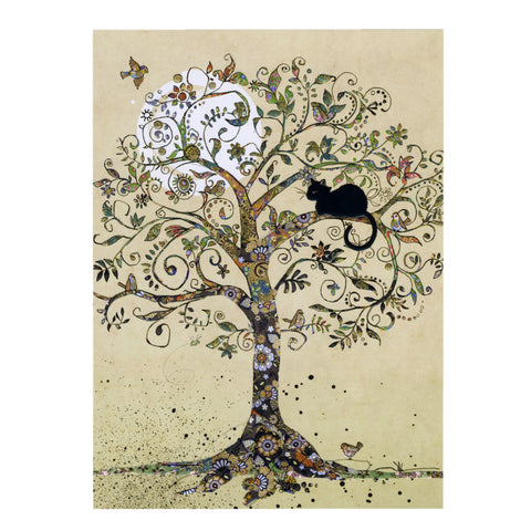 Bug Art Luxury Greetings Card - Cat in a Tree