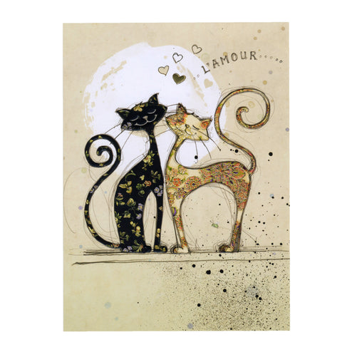 Bug Art Luxury Greetings Card - Two Lovecats