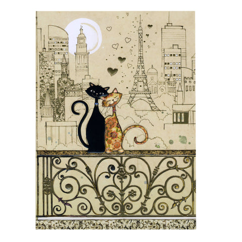 Bug Art Luxury Greetings Card - Romantic Cats