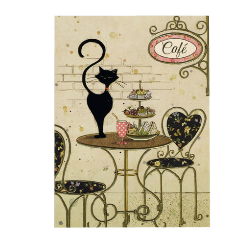 Bug Art Luxury Greetings Card - Cafe Cat