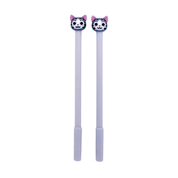 Pair of Tabby Cat Gel Pens - Black Ink