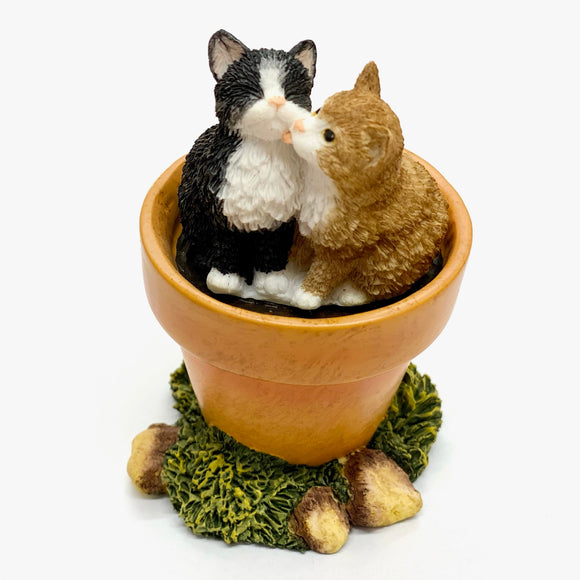 Flowerpot Cat Ornament Two Kittens Licking