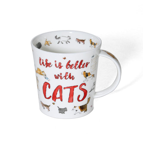 Dunoon Fine Bone China Life Is Better With Cats Mug
