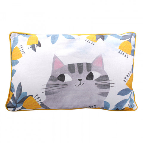 Planet Cat Large Cushion - Grey Cat
