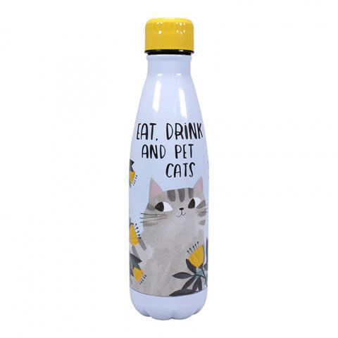 Planet Cat Metal Water Bottle - Grey Cat