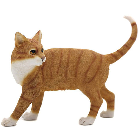 Ceramic Standing Cat Ornament Ginger & White