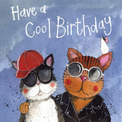 Alex Clark Classic Square Birthday Card - Cool Cats