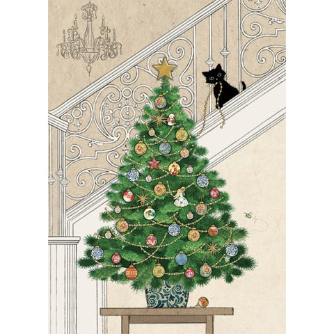 Bug Art Christmas Card - Tree Kitten (Single)