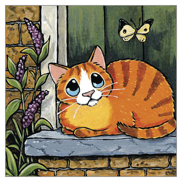 'Doorstep Visitor' Greetings Card - Lisa Marie Robinson