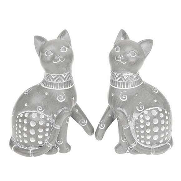Country Grey Sitting Cat Ornament