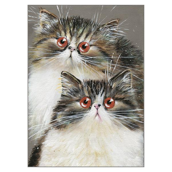 Kim Haskins Cat Greetings Card - Kaya and Sarani
