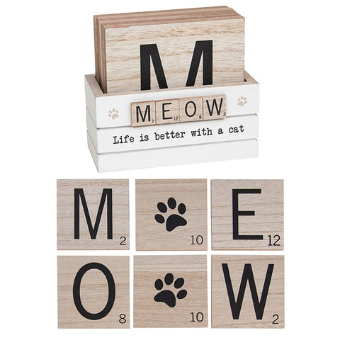 Scrabble-Style Cat Meow Coasters Set of 6