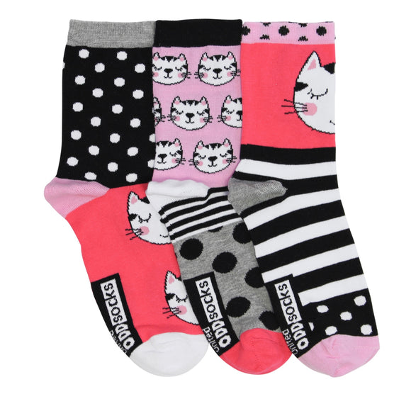 Ladies Clara Oddsocks, Pack of 3 Gorgeous Kitty Socks