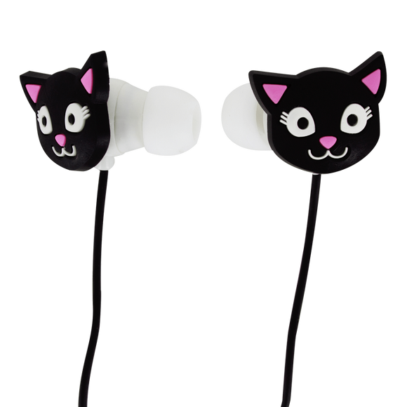 Black Cat Stereo Earbuds with Microphone