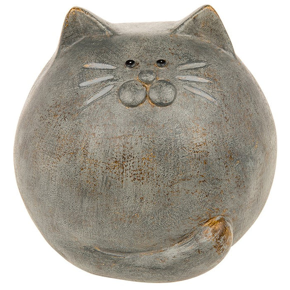 Country Grey Round Cat Ornament