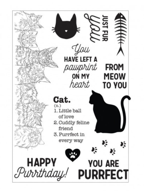 Kaisercraft Pawfect Clear Cat Acrylic Stamps - Pack 12