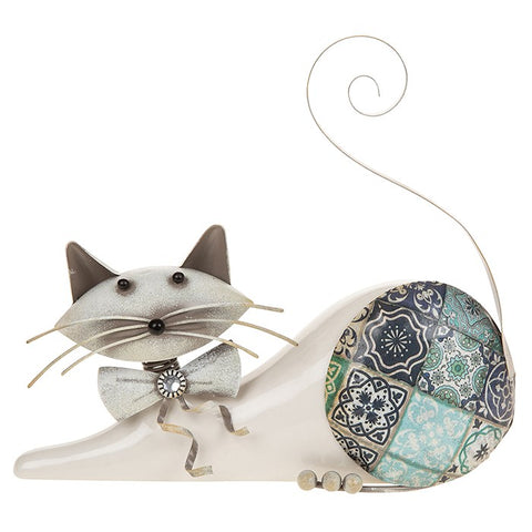 Country Blue Lying Cat Ornament