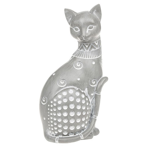 Country Grey Sitting Cat Ornament Large