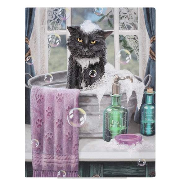 Lisa Parker Bath Time Canvas Cat Plaque