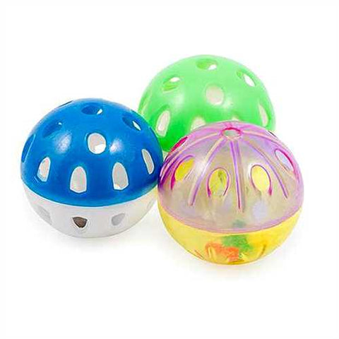 Ancol Pack 3 Cat Toy Balls with Rattle