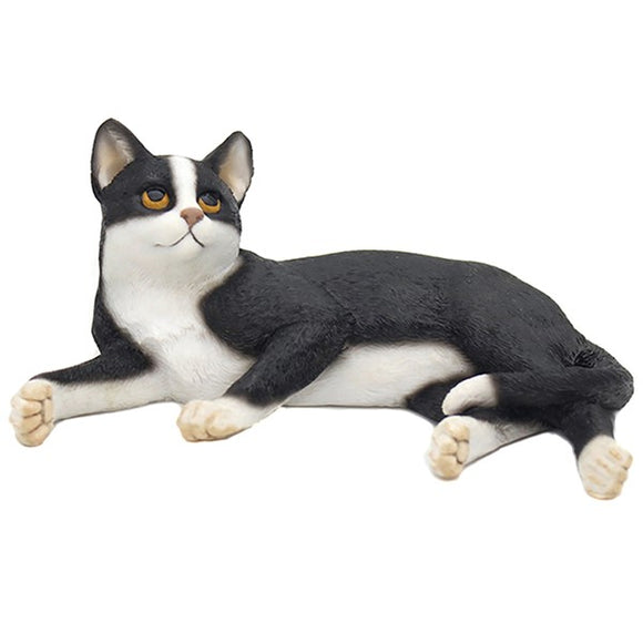Ceramic Lying Cat Ornament Black & White