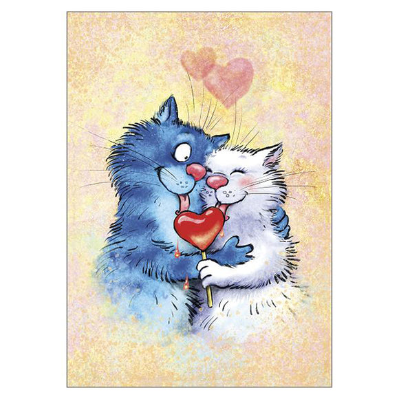 'Love You' Cat Large Greetings Card - Rita Zeniuk