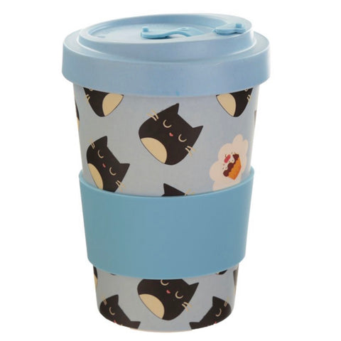 Feline Fine Cat Reusable Bamboo Travel Mug