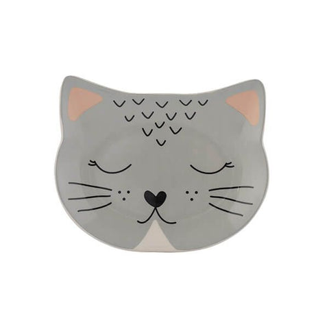 Mason Cash Shallow Ceramic Cat Pet Bowl - Smokey Grey
