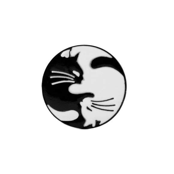 Black & White Cats Yin & Yang Brooch Pin Badge